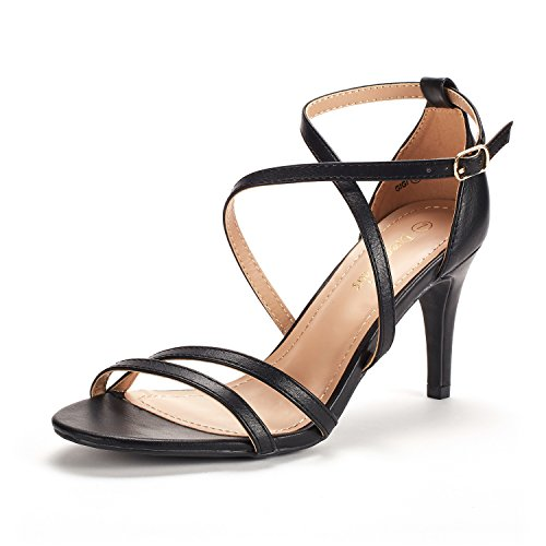 17c258baba DREAM PAIRS Women's Gigi Black Pu Fashion Stilettos Open Toe Pump Heeled  Sandals Size 7 B(M) ...