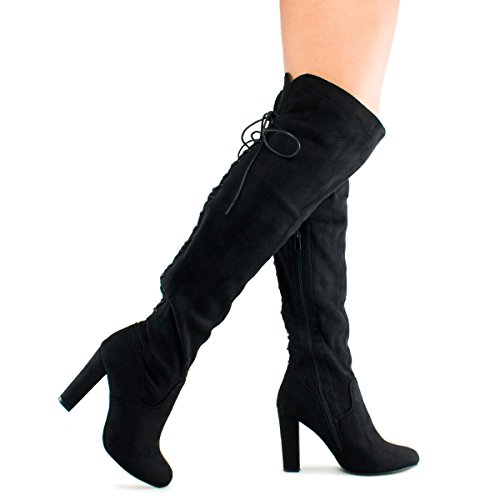 b687b144db ... Standard Women's Thigh High Stretch Boot - Trendy High Heel Shoe - Sexy  Over The Knee Pullon Boot - Comfortable Easy Heel, TPS Booties-22Aloz Black  Size ...
