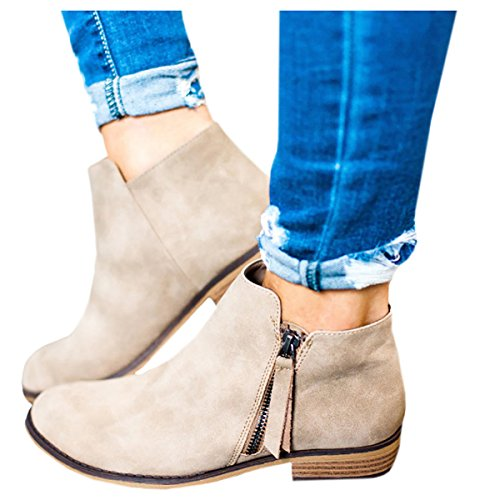 5573c3fa30 Boots for Women Ankle Winter Low Heel Western Side Zipper Pointed Toe Solid  Color (42EU -- 26cm(Foot Length) -- 10 US, Beige) ...