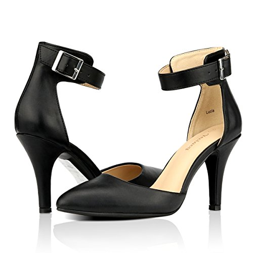 9e0747d73a Women's Chic Sexy High Heel Ankle Wrap Hasp Plus Size 4-10.5 PU Leather  Work White Pumps Sandal 8 B (M) ...