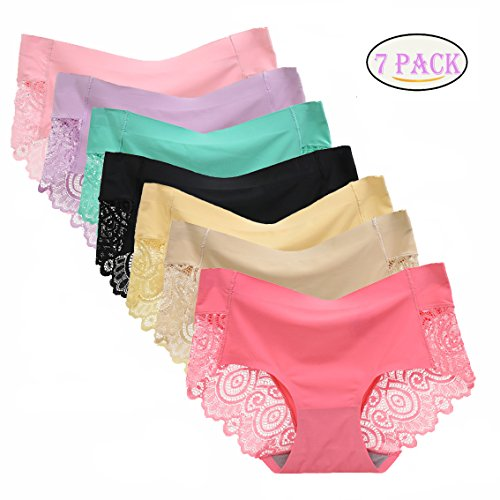 5f2fc0c45d51 lingirl 7 Pack Women's Invisible Soft Underwear Middle-Waisted Sexy Cotton  Healthy Panties (7pack-b, x-Large) ...